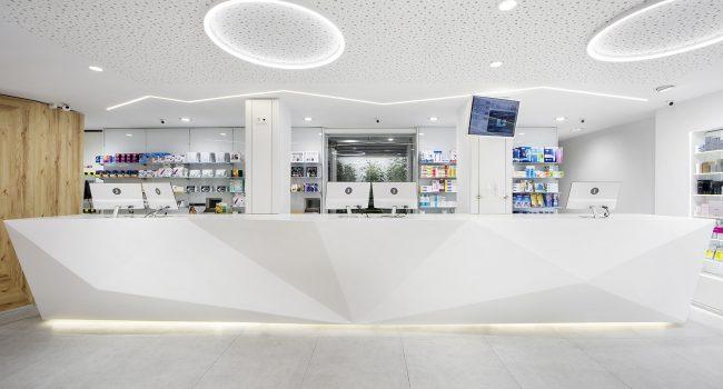 Mostrador de farmacia con krion
