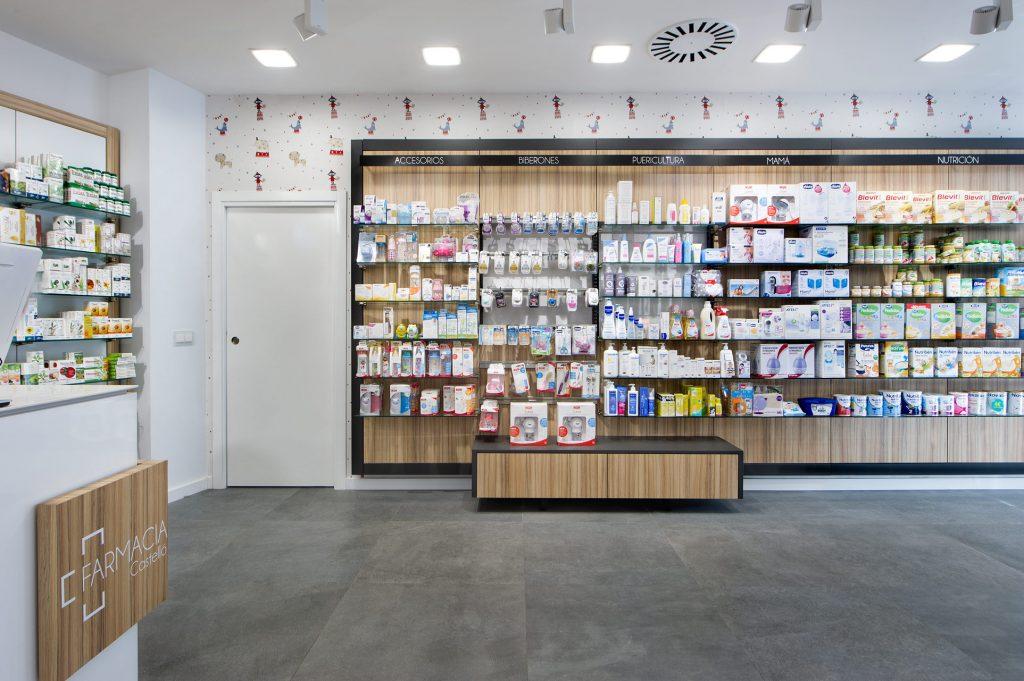 Señalización estanterias de farmacia