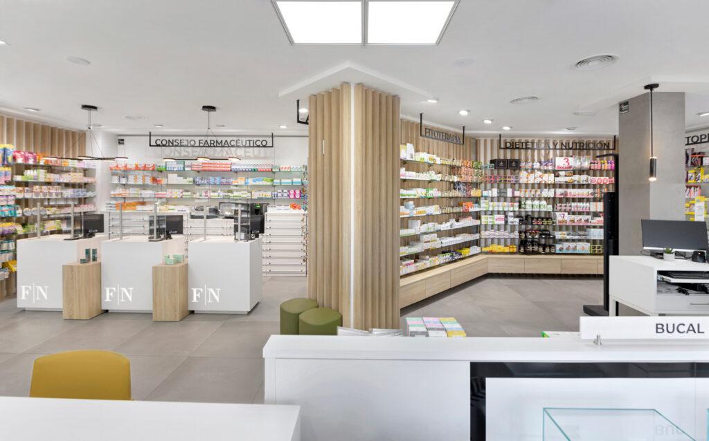 Vista mostradores farmacia nautic